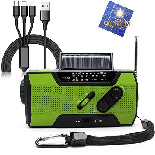 KORYO ダイナモラジオチャージャー(手回し充電/太陽電池/スマホ充電)